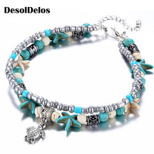 Bohemian Crystal Stone Anklets Double Beach Foot Chain Conch Starfish Alloy Turtle Pendant Leg Bracelet Women Jewelry