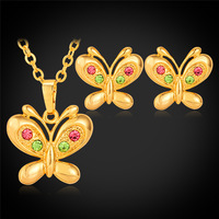 Butterfly Necklace Drop Earrings For Women Gold Color Fashion Jewelry Colorful Austrian Rhinestone Jewelry Set PE1212