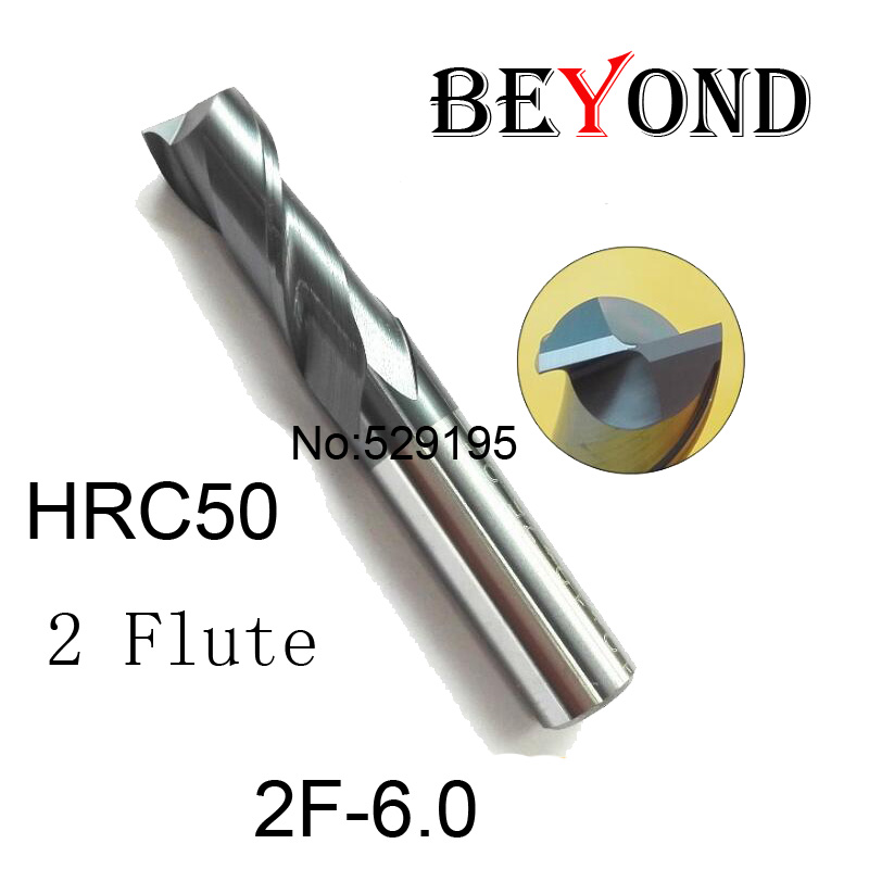 Fresa Cnc Router 2f-6.0*6*13*50,hrc50,carbide End Mills,carbide Square Flatted Mill,2 Flute,coating:nano,factory Outlet Length