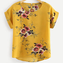 New Arrival Women's Tops And Blouses Sexy Casual Floral Printing Shirt Short Sleeve Tops Blouse Feminina Roupas(China)