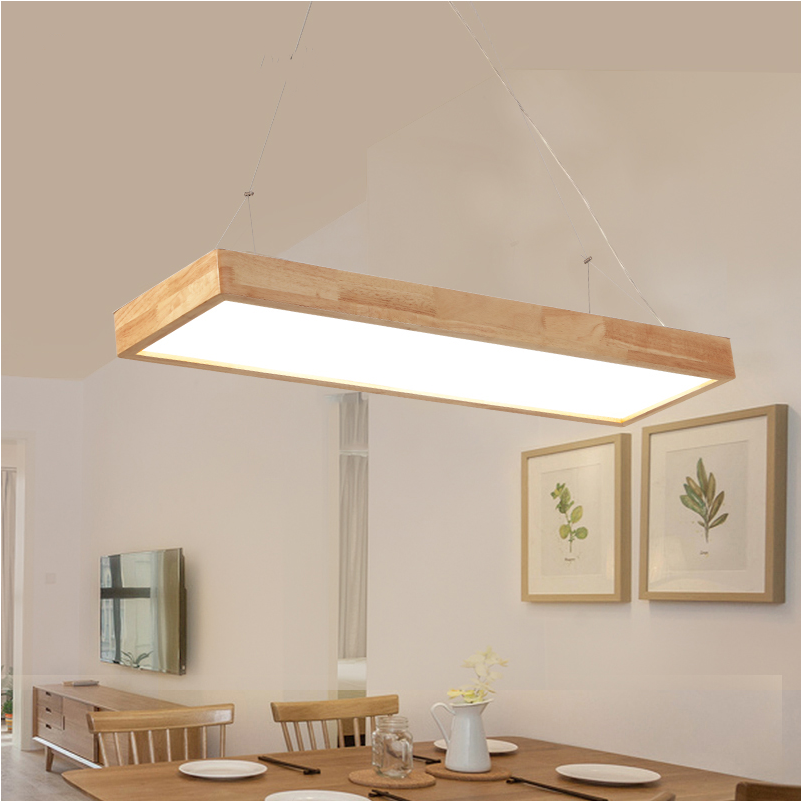 rectangular pendnat lights Solid Wooden Japanese pendant lamp solid wood bar simple LED Nordic lamp office MZ89