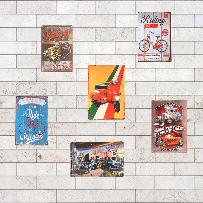 vintage tin metal signs motorcycle signs rustic wall plaque garage garage club barn parlor bedroom wall decor - Bedroom Wall Plaques