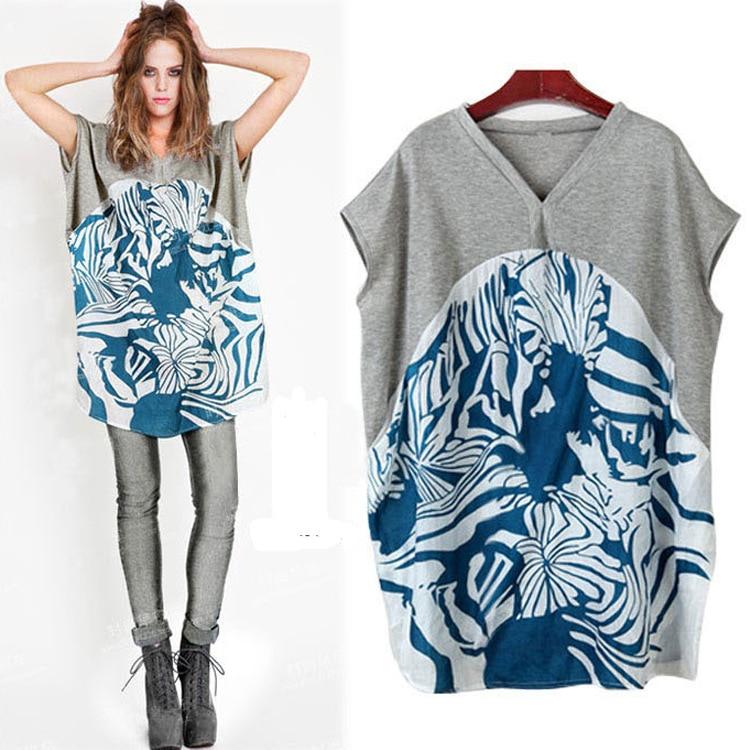 2016 Baru Musim Panas Longgar T Shirt Ukuran Besar Pencetakan wanita - Pakaian Wanita - Foto 1