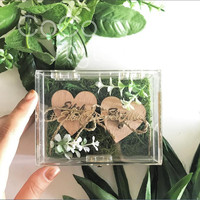 Cocostyles personalized blank elegant acrylic flower ring box with gold foiling logo for lawn wedding gift box