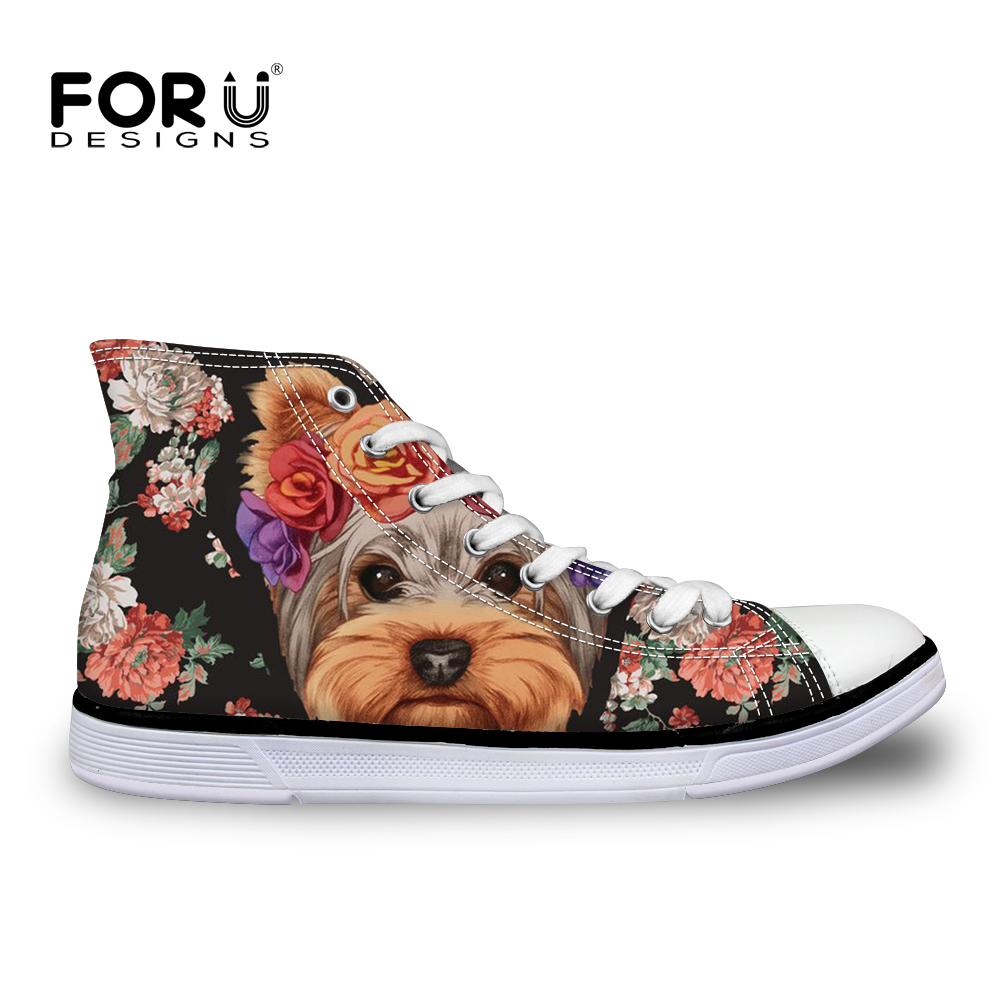 FORUDESIGNS Cute Floral Yorkie Printed Womens Shoes New 2018 High Top Canvas Woman Casual Skate Trainers Flat Zapatillas