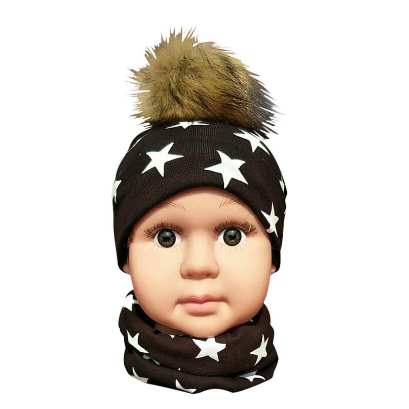 Baby Girls Cotton 22 Styles Artificial Fur Ball Cap Kids Boy Winter Caps With Hair Ball Winter Baby Hat