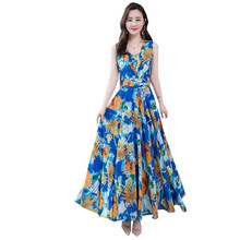 Summer Fashion Women Korean Type Slim Big Hem Bohemian Printed Beach Chiffon Dress