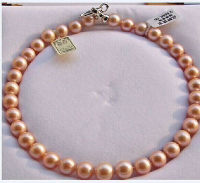 ELEGANT12mm round south gold pink pearl necklace 18inch 925s>Selling jewerly free shippingELEGANT12mm round south gold pink pearl necklace 18inch 925s>Selling jewerly free shipping