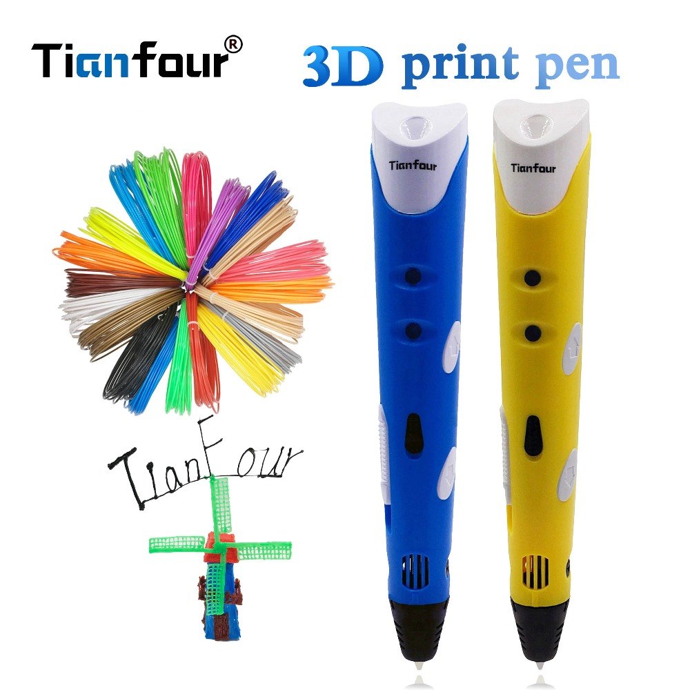 Tianfour Model 3D Printer Pen With 100m 1.75mm ABS Filaments 3D Printing Pen 3d model Original Design for kids Christmas Gift new arrival 3d printing pen with 100m 10 color or 200 meter 20 color plastic pla filaments 3 d printer drawing pens for kid gift