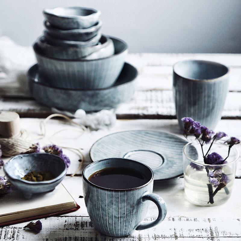 KINGLANG Japanese Designed Ceramic Dinnerware Set Wholesale Procelain China Plates Set Restaurant Bowl Dish Mug QINGX