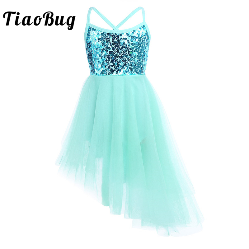 TiaoBug Child Sequin Tulle Professional Fancy Ballet Tutu Dress Girls Gymnastics Leotard Ballerina Party Stage Kids Dance Wear