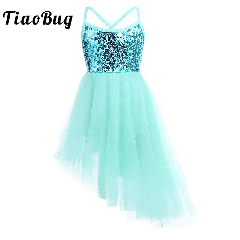 TiaoBug Child Sequin Tulle Professional Fancy Ballet Tutu Dress Girls Gymnastics Leotard Ballerina Party Stage Kids Dance Wear