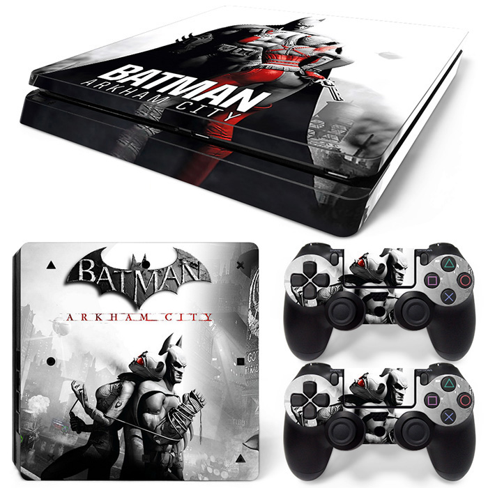Protective Batman ARKHAM Game Vinyl Skin Stickers For Playstation 4 PS4 Slim Console Cover Decals For PS4 Controllers image