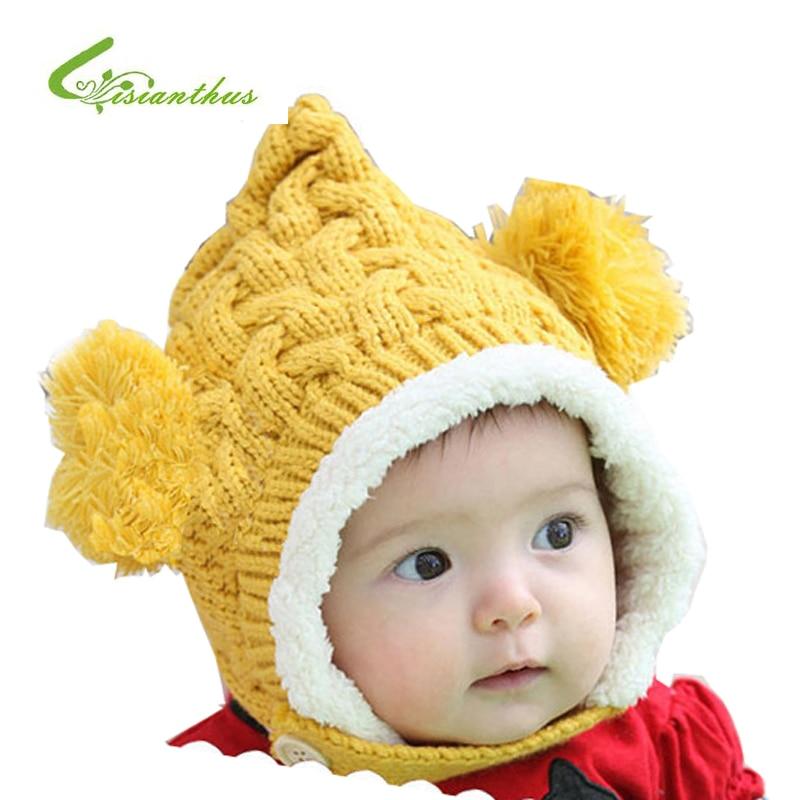 Baby Hat New Arrival Children Knitted Hats Winter Keep Warm Crochet Cap Cute Girls Boys Beanie Cap Free Shipping Drop Shipping
