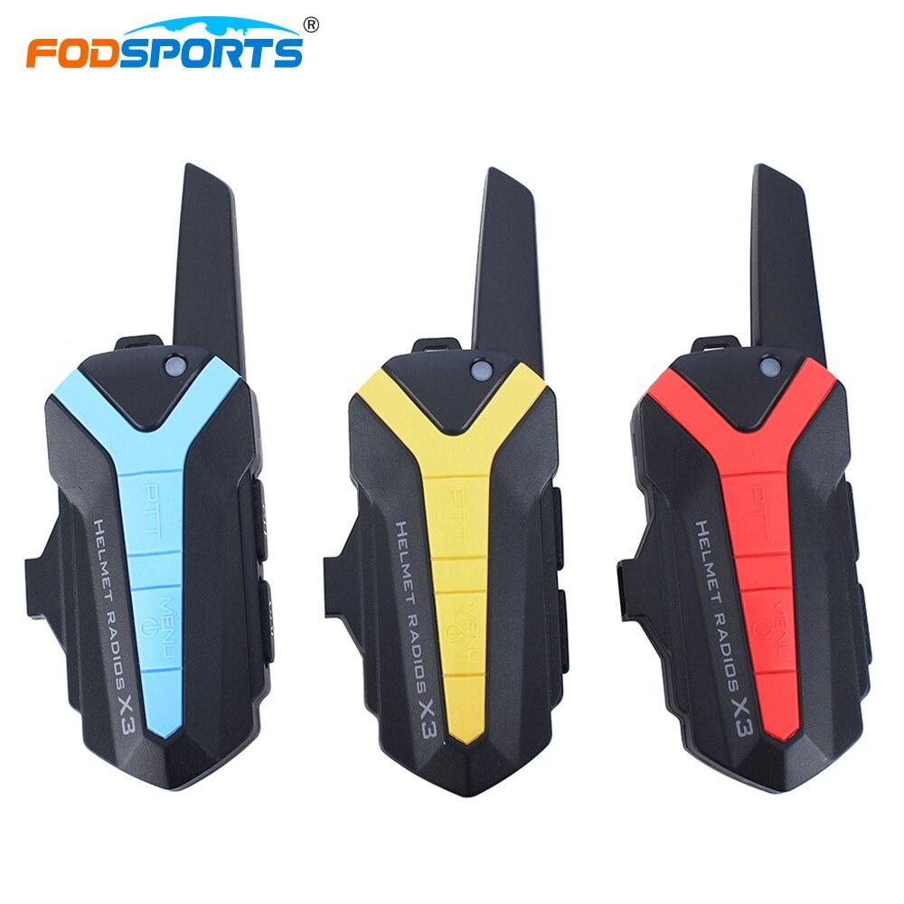 Fodsports X3 Plus Helmet Headset Group Riders 3000M Waterproof BT Motorbike Wireless Interphone Intercom With PTT Control