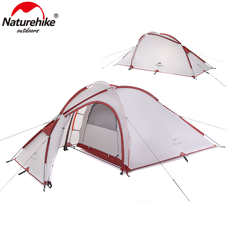 Naturehike 3 person tent ultralight 20D 4 season camping tent one bedroom one living room NH outdoor hiking traveling tents 995g camping inner tent ultralight 3 4 person outdoor 20d nylon sides silicon coating rodless pyramid large tent campin 3 season