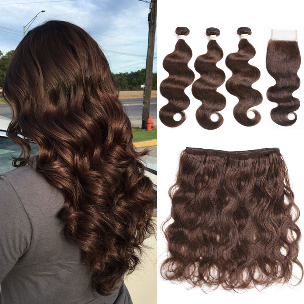 BEAUDIVA Pre-Colored Human Hair Weave with 4*4 Closure 3 Bundles with Closure 2# 4# Natural Color Brazilian Body Wave Human Hair