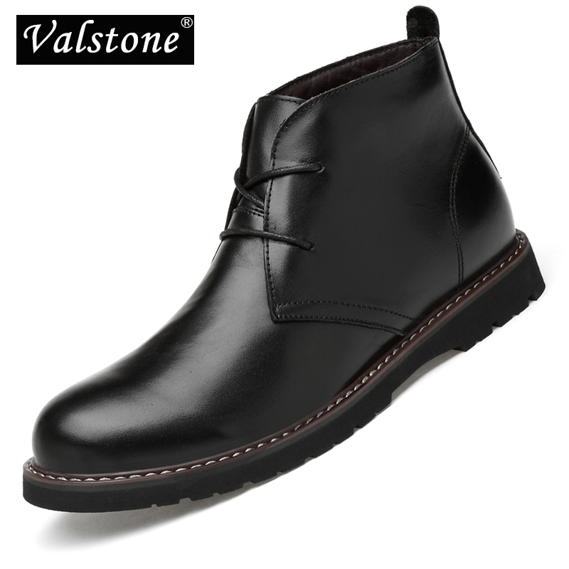 Valstone Superior Men s Genuine Leather Boots Waterproof Luxury Ankle boot lace up Footwear Men Shoes