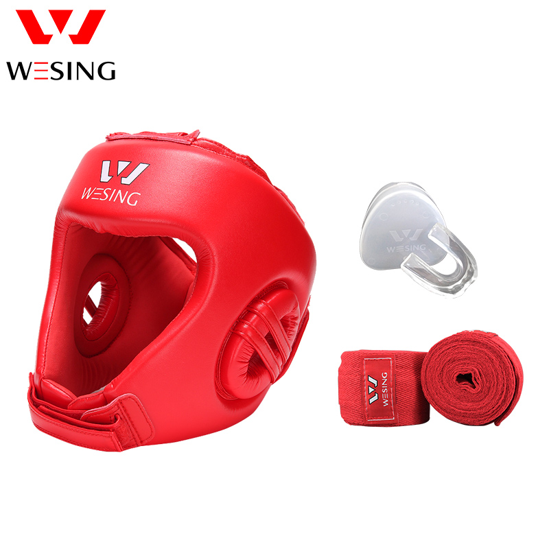 Wesing AIBA Head Guard with Tooth Guard Handwraps for Professional Boxing Athletes Training Competition Mouth Guard Bandages wesing aiba approved boxing gloves 12oz competition mma training muay thai kickboxing sanda boxer gloves red blue