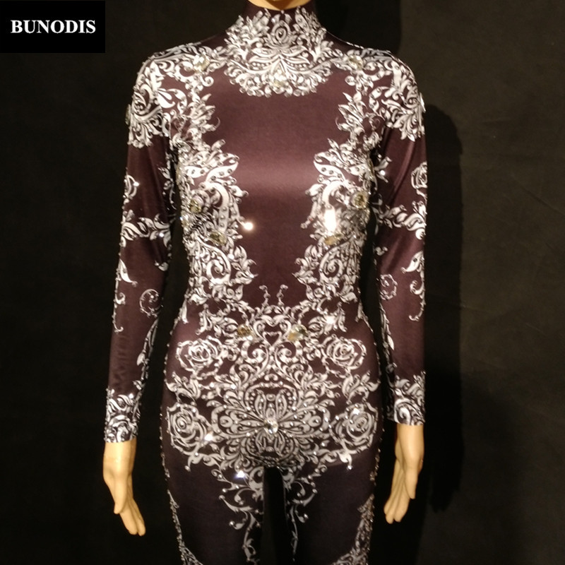 Blanc Impression Discothèque Body Cristaux Costume Salopette Célébrer Usage Femmes D'anniversaire Mousseux Noir Zd148 Fleurs D'étape 45TqOn1f