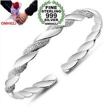 OMHXZJ Wholesale jewelry geometric Love Intertwine woman fashion kpop star Fine 999 Sterling Silver Bangles SZ07 adjustable