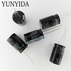5 pces 400v 10uf 15uf 22uf 33uf 47uf 68uf 82uf 100uf 150uf alumínio capacitor eletrolítico