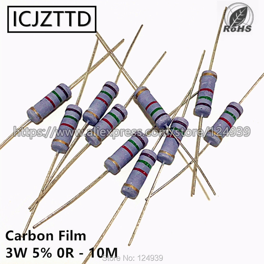 10 шт., карбоновый пленочный резистор 3 Вт 5% 3 Вт 5% 75R 82R 91R 100R 120R 150R 180R 200R 220R 240R 270R 300R 330R 360R 390R 430R 470R 510R
