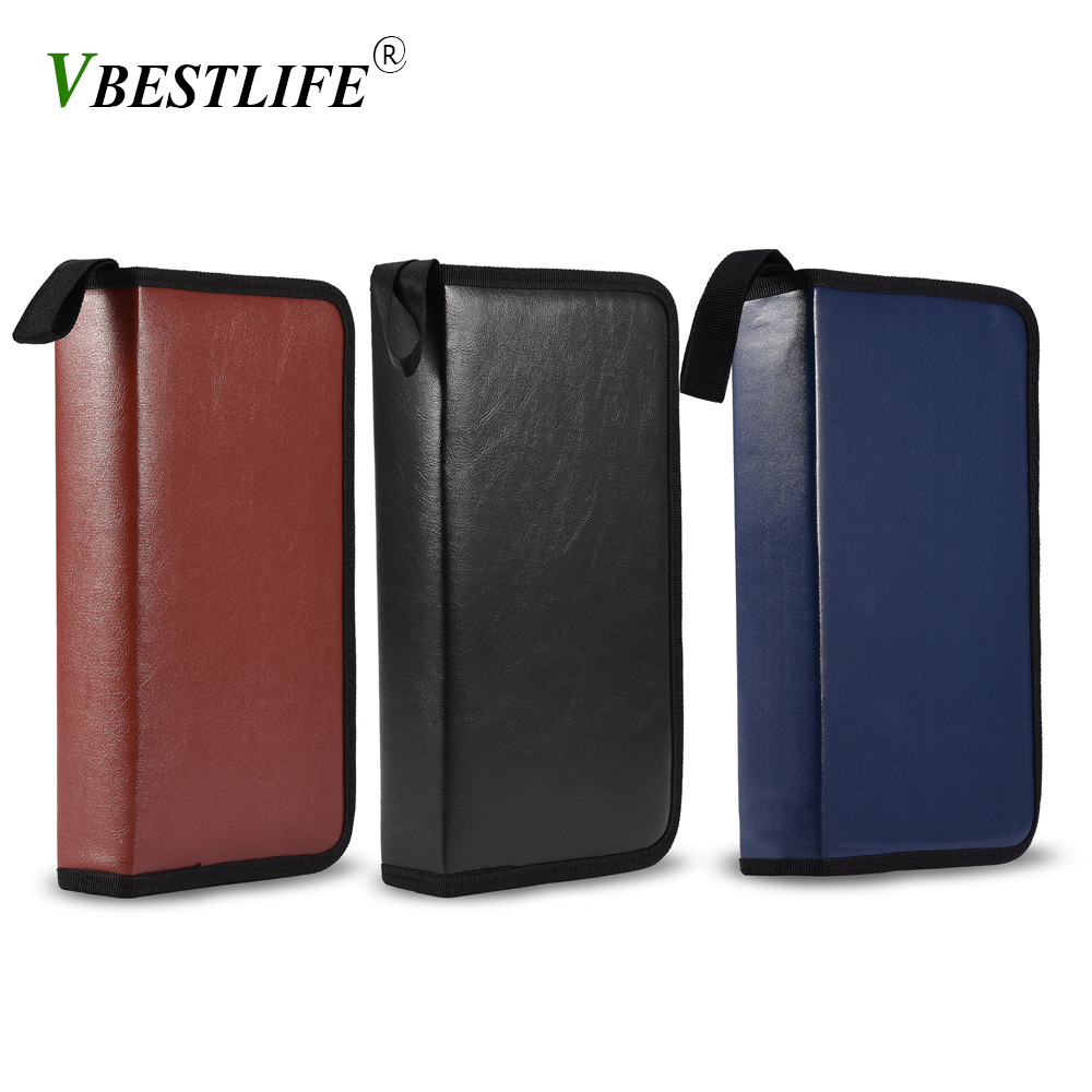 VBESTLIF 80 Disc Large Capacity Portable PU Leather porta CD DVD VCD Storage Case packaging holder High Quality 3 Colors Option