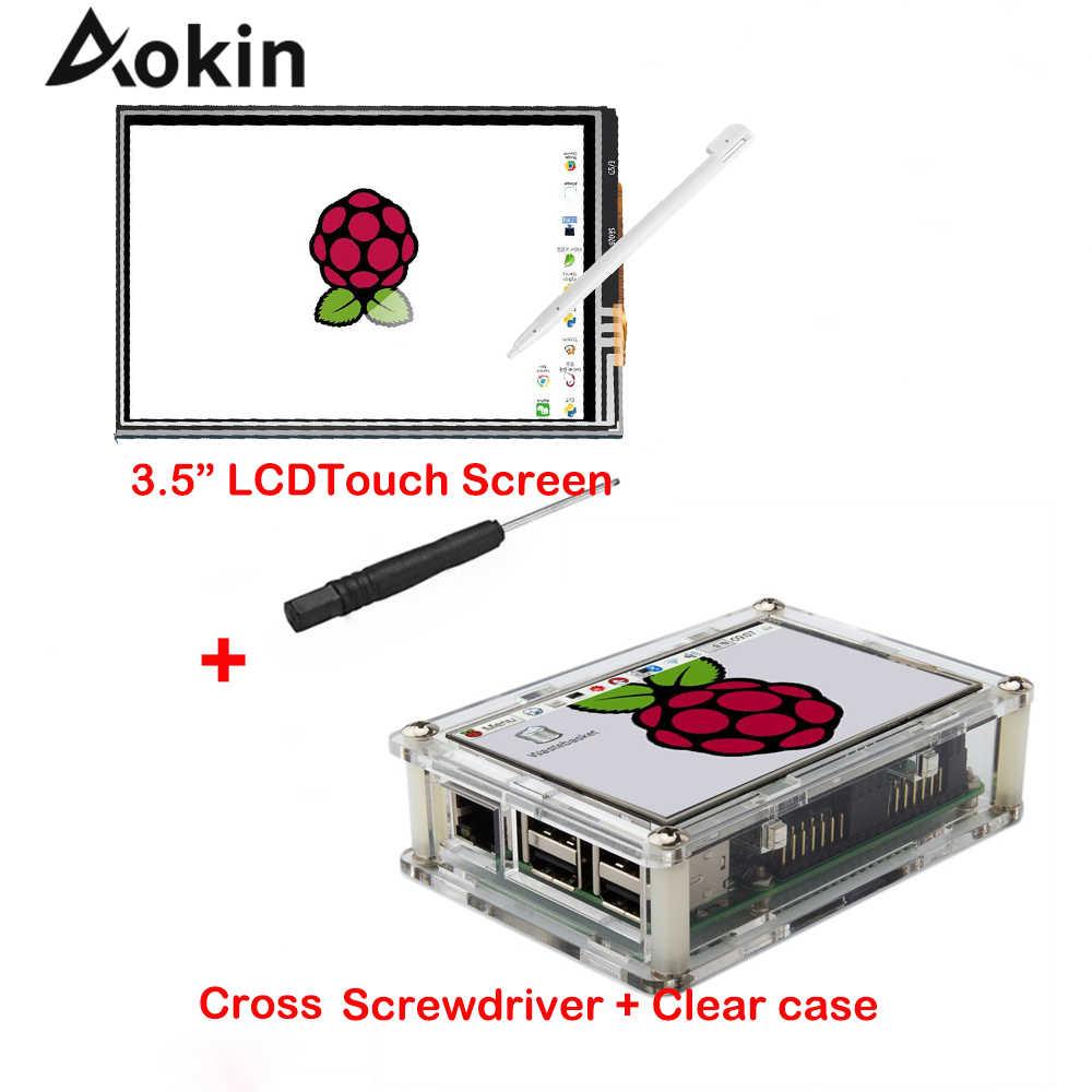 """Pantalla para Raspberry Pi 3,5 """"Pantalla táctil LCD Monitor con estuche acrílico transparente Stylus para Raspberry Pi 3 2 Modelo B, modelo B"""