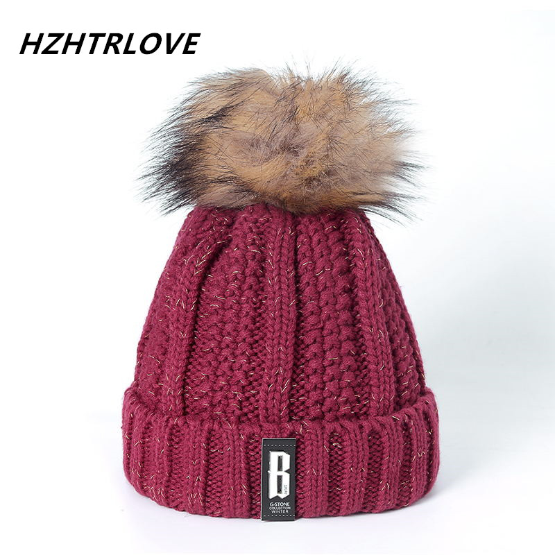 High Quality Letter B Beanies Cotton Add Wool Fur Ball Cap Pom Poms Winter Hat For Women Girl 's Hat Knitted Warm Beanies Cap