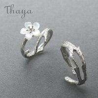Thaya белая вишня цветок серебряное кольцо s925 серебро природный жемчуг Ювелирные изделия в виде ракушки ветвь цветка кольца для Для женщин эл...