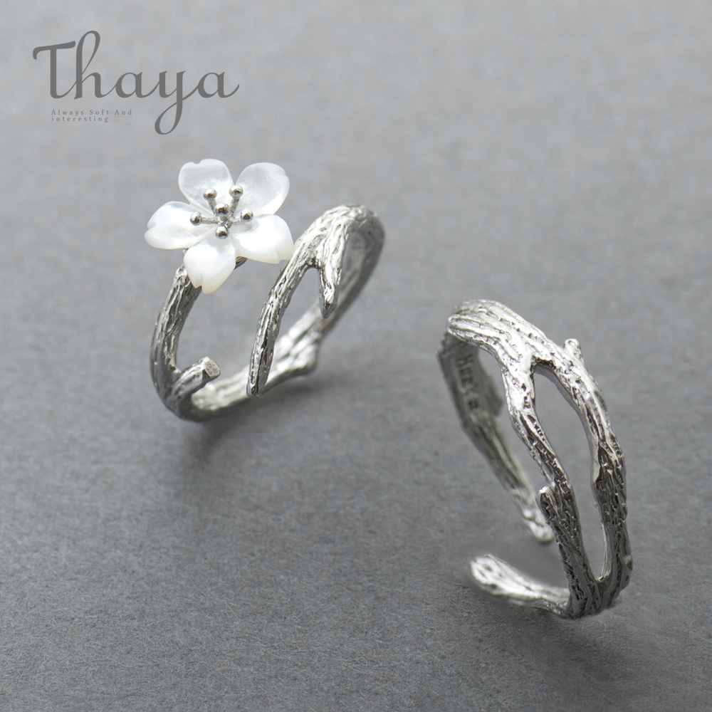 Thaya White Cherry Blossom Silver Ring s925 Silver Natural Pearl Shell Flower Branch Rings for Women Innrech Market.com