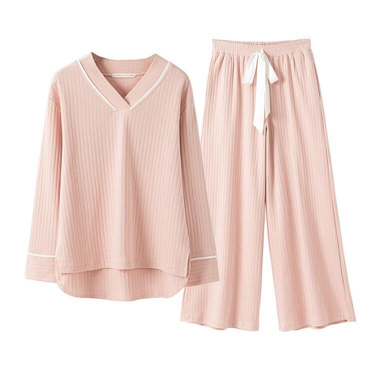 New Spring Cotton Knitting Wide Leggings Suit Womens Pyjamas Pajamas Sleepwear Female Pijama Home Suit Clothes Pregnant Women