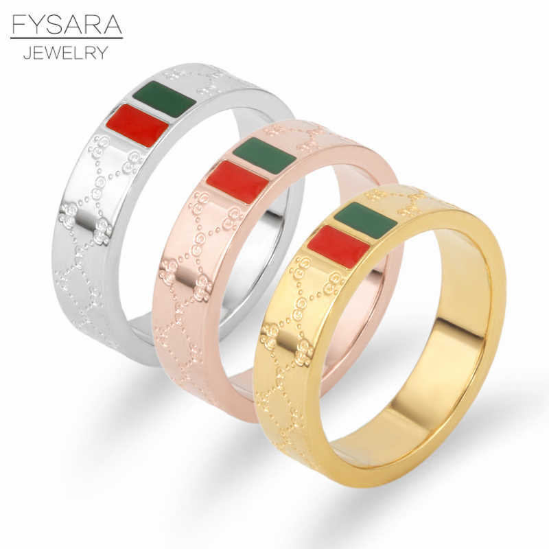 FYSARA Women Stainless Steel Rings Man Party Classic Gold Plating Charming Finger Ring Luxury Brand Wedding Ring Love Jewelry