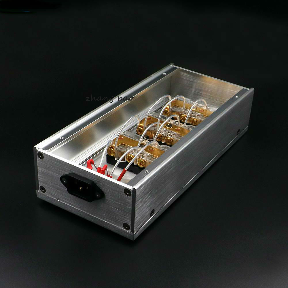 цена на HIFI Aluminum gold-plated phosphor copper US standard power Distributor 6 seats Power supply array socket