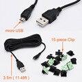 15 unidades Cable USB Multifuncional Línea de Adhesivo Sostenedor Del Coche Del Clip Sujetador con 3.5 metro micro usb cable para cámara del coche dvr/gps