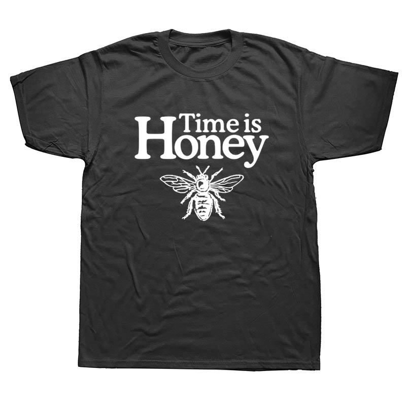 WEELSGAO Cotton Men Funny   T     Shirt   Time Is Honey Beekeeper Bee Graphic Garment for Party Printed Man Tees