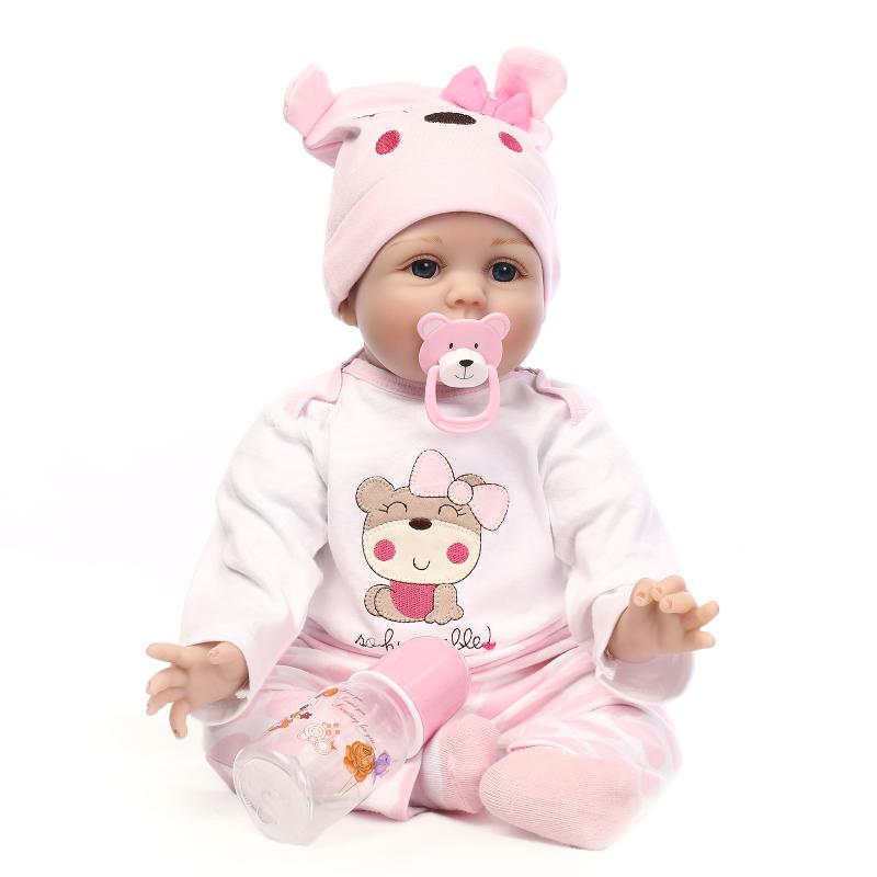 55cm Soft Body Silicone Reborn Baby Doll Toy For Girls NewBorn Girl Baby Birthday Gift To Child Bedtime Early Education Toy npkdoll 22 toy for girls 55cm soft silicone doll reborn baby newborn girl baby birthday gift for child bedtime early education