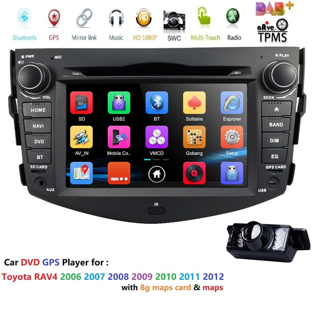 "Free shipping 7""HD car radio 2din GPS Navigation car dvd player for Toyota RAV4 2006-2012 stereo Bluetooth SWC USB DAB+ CAMERA"