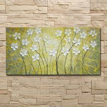 No frame 100% Handmade Abstract Yellow white flowers Oil Painting on Canvas Pictures wall image picture room Home Decor(China)