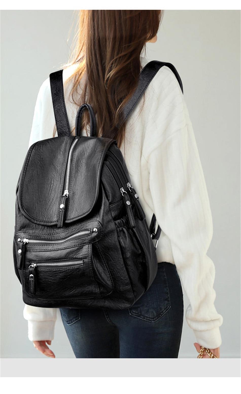 HTB1B1lIaJfvK1RjSspoq6zfNpXaz Women Backpack Female High Quality Soft Leather Book School Bags For Teenage Girls Sac A Dos Travel Back pack Rucksacks Mochilas