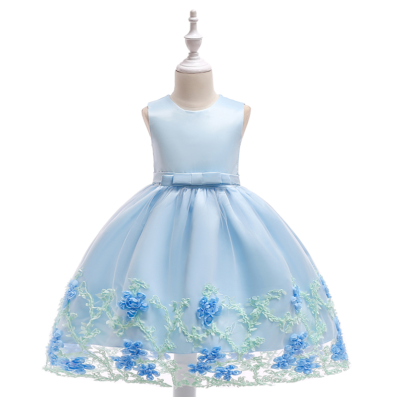 Retail 2018 New Style Summer Girl Princes Dress Children Girl Floral Party Dress Kids Dresses For Girls L1845 free shipping retail cotton 2016 summer style girl dress floral children clothing flower casual girls dresses gril dress