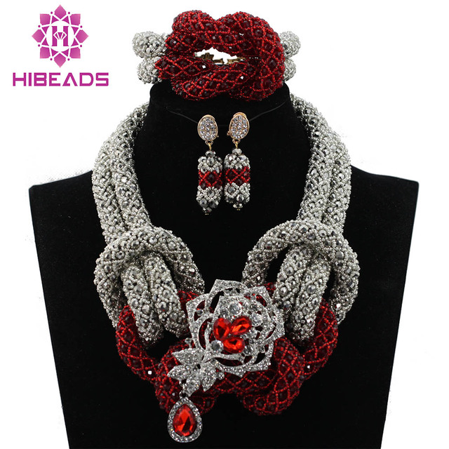 Fantastic Wine Burgundy Wedding Party Beads African Jewelry Set