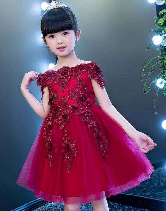 297 48 De Descuentovestido De Tul Para Niñas Con Apliques De Encaje Rojo Sin Hombros In Vestidos From Madre Y Niños On Aliexpress