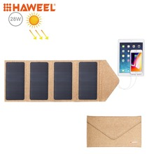 HAWEEL 28W Foldable Solar Panel Charger with 5V 2.9A Max Dual USB Ports Portable Travel Solar Powered Panel 28w
