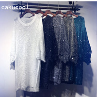 Cakucool Sequined Mini Dress Spring Long Sleeve Beading Vestidos Shiny Gold Lurex Big O neck Casual Sexy Loose Knitted Dresses