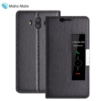 Mate 10 Case Genuine Leather Flip Cover Magnetic Smart View Window Luxury Funda For Huawei Mate