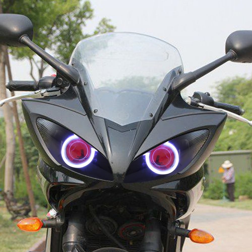 Hid Bi Xenon Motorcycle Projector Yamaha R1 04 Wiring Diagram 61 08 Kt Headlight Suitable For Fz6s 2003 2009 Led Angel Eye Red Demon