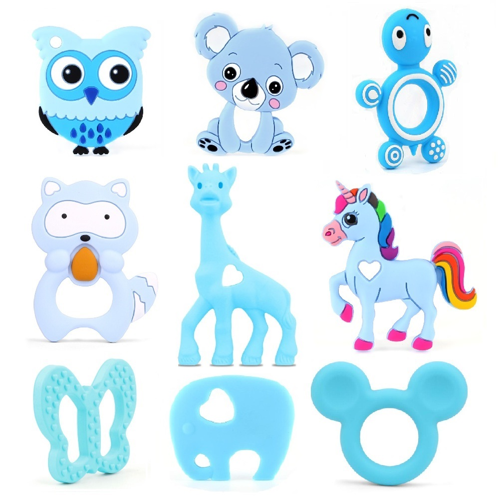 TYRY.HU 1pc Silicone Teether Animal Baby Teether Pendant Food Grade BPA Free Baby Teething Chew Charms Silicone Beads Toy Gift