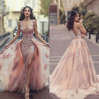 Side Split Mermaid Evening Gown Charming See Through Back Appliques Crystal Long Detachable Train Wedding Party Dress